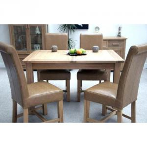 Opus Oak Framed Top Twin Leaf Dining Table
