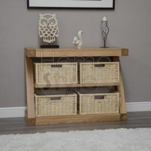 Z Oak Designer Basket Console Table