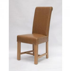 Louisa Bycast Tan Leather Dining Chair
