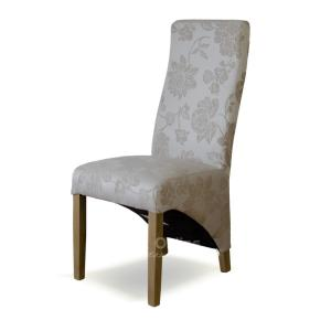 Wave dining chair in Cream Floral Fabric